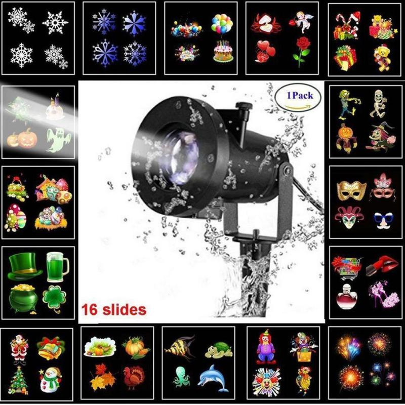 Snowflake Star Projector Atmosphere Lighting Outdoor Garden Christmas Lamp Disco Bulb Garden Laser Waterproof 16 Pattern Z30