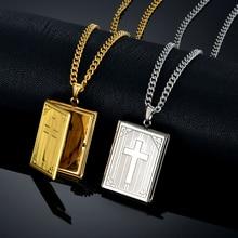 Jesus Cross Necklace Jewelry For Men Women Gold-Color Steel Chain Male Photo Locket Style Jesus Crucifix Pendant Necklace XL787