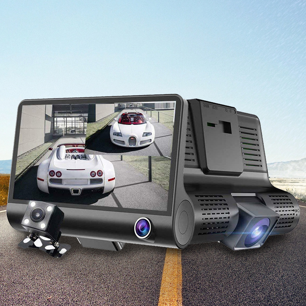 Car DVR Parking-Monitor Vehicle Dash-Cam Rear-View Night-Vision 1080P LCD 4inch HD Three-Lens