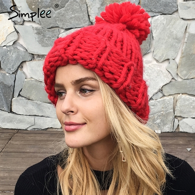 Simplee Knitting wool ball skullies beanies Casual streetwear warm hat cap  Women autumn winter 2017 cute beanie hat female 054378aafe5
