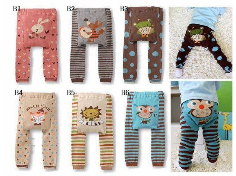 2015 Baby Pants cartoon print knitted busha pp pants elastic waist toddler Leggings Kids Clothes 3-24 M ethnic style elastic waist tribal print girl s pants