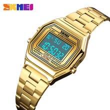 d231bc15822 SKMEI Luxuly Mulheres de Pulso Relógio de Ouro Relogio masculino Saatler Digital  Relógios Em Aço Inoxidável
