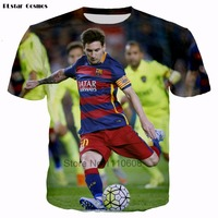 2017 Summer Fashion 3D Print Lionel Messi T Shirt Men Cristiano Ronaldo Short Sleeve T Shirts