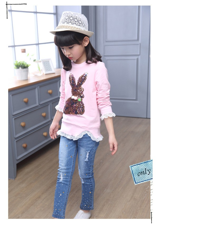 2016 new arrive sequined rebbit charatcer gray pink girls sweatshirt spring long sleeve kids clothes girls tops clothes 8 10 12 14 years girls clothing  6 7 8 9 10 11 12 13 14 15 16 children clothing (15)
