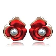 Romantic Rose Flower Nice Imitation Pearls Stud Earrings for Women New Fashion 2019 Sale Jewelry E00958