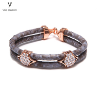 Genuine Python Leather Bracelet & Charming Real Silver Hardware Grey Python Cords Men Bracelets Luxury Friendship Gift With Box