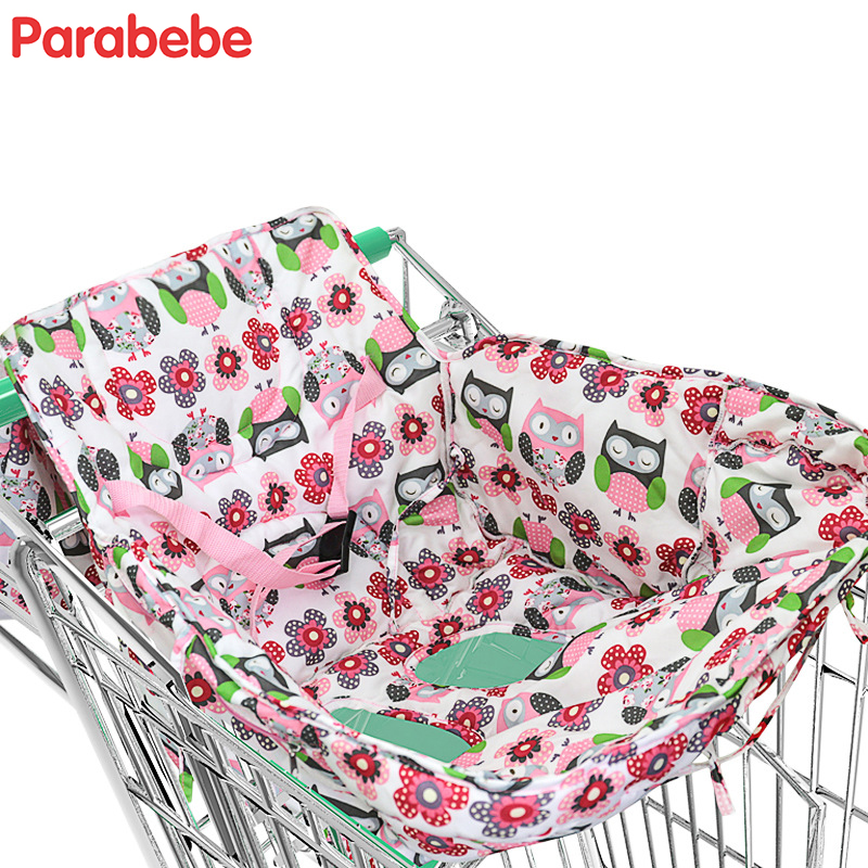 2018 New children shopping cart cover cute cartoon baby highchair cover Kids Boys Girls portable trolley push chair cushion mat printed baby child supermarket trolley dining chair protection antibacterial safety travel portable shopping cart cushion