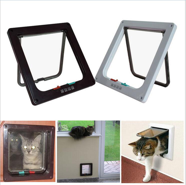 Pet Dog Cat Door Small Pet Animal 4 Way Magnetic Lockable Door ABS Kitty safe Flap Gate 3 size Coffee White