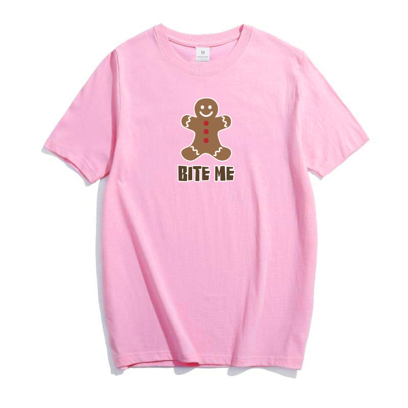 Plus Size Cotton T-shirt Women Bite Me Letter Printed Joke Top Cloth Original Design Funny Bold Tee Top For Girl