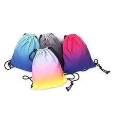 Gradient Drawstring Bag Ombre School Swimming Travel Cinch Sack Sports Backpack