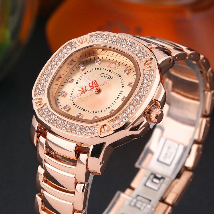 где купить  GEDI Fashion Rose Gold Rhinestones Watches Women Best Luxury Brand Ladies Quartz Watch Waterproof Wrist Watch Relogio Feminino  по лучшей цене