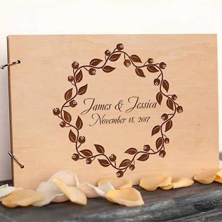 Personalized Wedding Guest BookRustic Wreath Photo AlbumCustom Wood Sign Guestbook