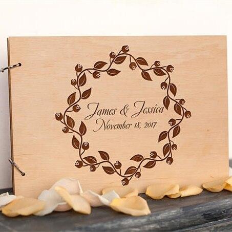 Personalized Wedding Guest Book,Rustic Wreath Wedding Photo Album,Custom Wood Sign Guestbook,Diy Scrapbook Album,Wedding Decor