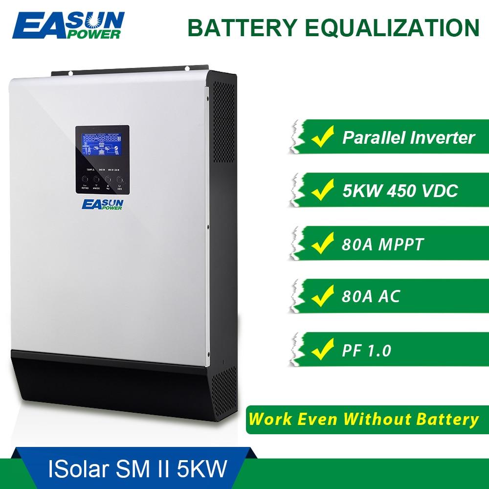 EASUN POWER 450Vdc 5000 watt Solar Inverter 80A MPPT Parallel Inverter 48 v 230 v Reine Sinus Welle Hybrid Inverter 80A Batterie Ladegerät