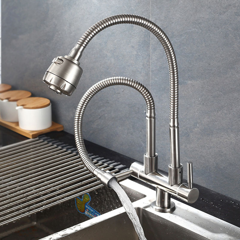 304 Stainless Steel Kitchen Faucet Single Cold Water Tap Universal Tube Double tube Faucets 360 Rotation 2 Water Outlet Taps 3 4 female bsp 304 stainless steel high voltage explosion proof corrugated pipe hard tube inlet outlet cold hot water 10cm 80cm