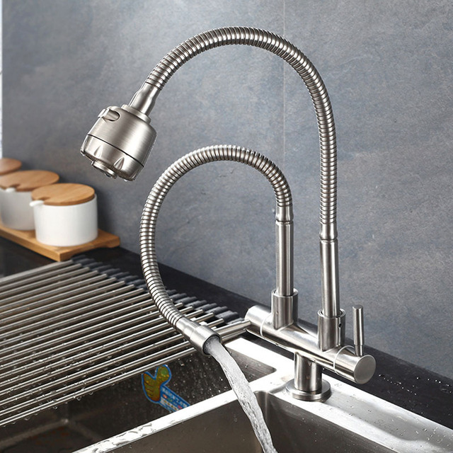 304 Stainless Steel Kitchen Faucet Single Cold Water Tap Universal Tube Double Tube Faucets 360 Rotation 2 Water Outlet Taps In Kitchen Faucets From