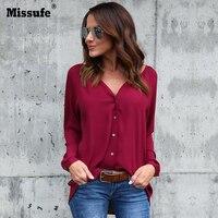 Missufe Plus Size 3XL To 5XL Chiffon Blouses Shirt Women 2017 Blusas Autumn Casual Long Sleeve