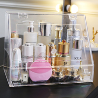 ANFEI free shipping new arrivals plastic large clear jewelry makeup display cosmetic organizer storage case with cover C5061