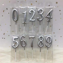1 pcs Silver Happy Birthday Candles cake Party Decorations Adults/Kids 0-9 Number uninflated Candles Decor Party Supplies(China)