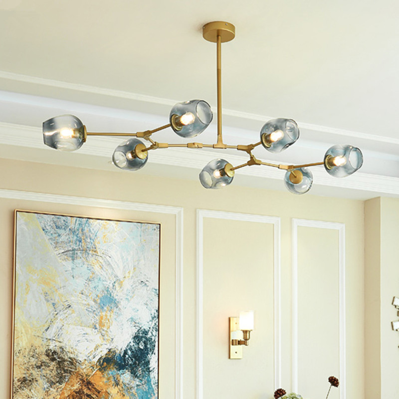 Kitchen Modern Pendant Light Gradual Grey Glass Lamp Bar Gold Lighting Large Lights Room Ceiling Free Bulbs