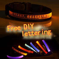 Nylon Pet LED Dog Collar Night Safety LED Flashing Glow LED Pet Supplies Dog Cat Collar