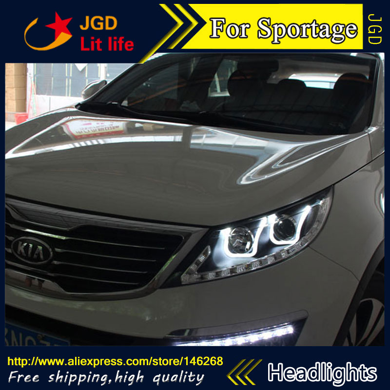 Free shipping Car styling LED HID Rio LED headlights Head Lamp case for KIA Sportage SportageR 2009-2011 Bi-Xenon Lens low beam akd car styling for kia k2 rio headlights 2011 2014 korea design k2 led headlight led drl bi xenon lens high low beam parking