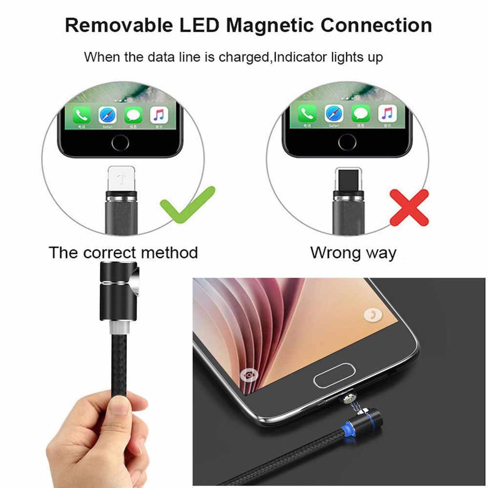 L-Linea Cavo di Ricarica Magnetico 90 Gradi Cavo LED per il iphone XS MAX XR X 8 7 6 Più e Cavo Micro USB e USB Tipo-C USB C Cavo