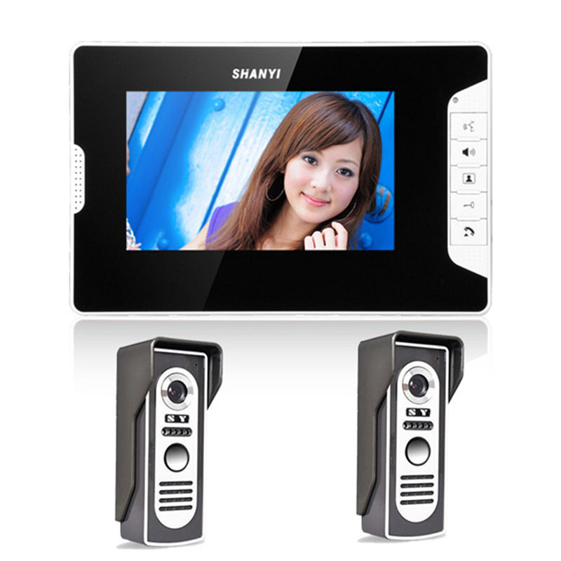 """Gratis Schip Nieuwe Home Security 7 """"wired Video Deurtelefoon Deurbel Intercom Systeem Kit + 1 Monitor + Twee Nachtzicht Outdoor Camera Groot Assortiment"""