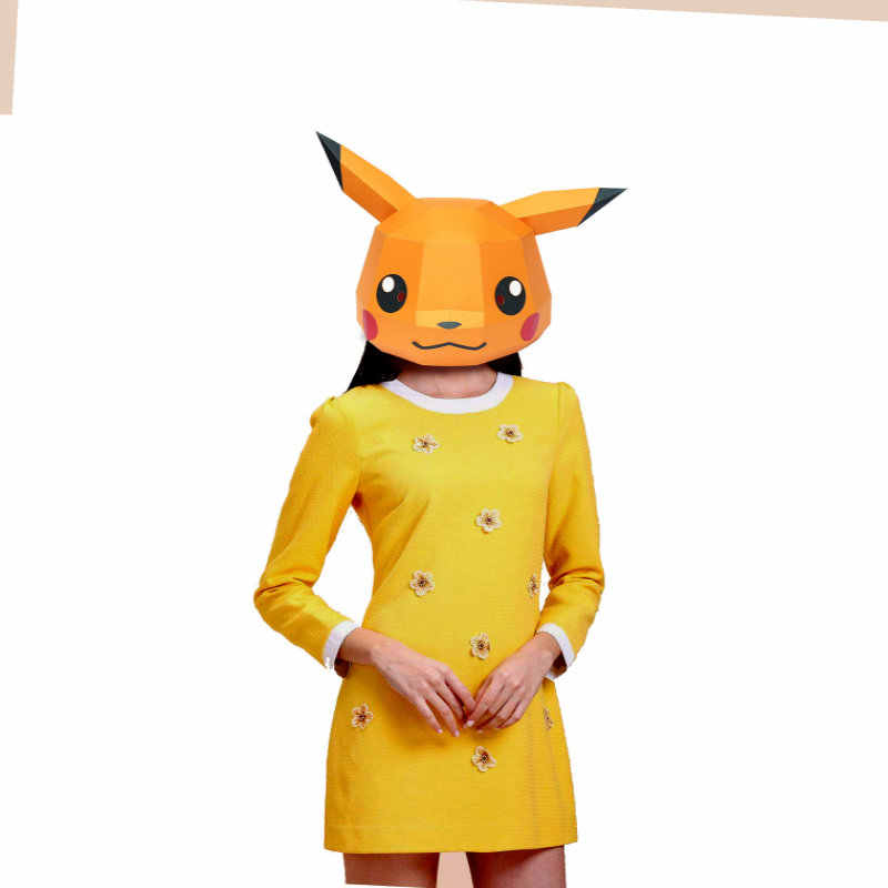 Paper Mask 3d Pikachu Costume Cosplay DIY Paper Craft Model Mask Christmas Halloween Prom Party Gift