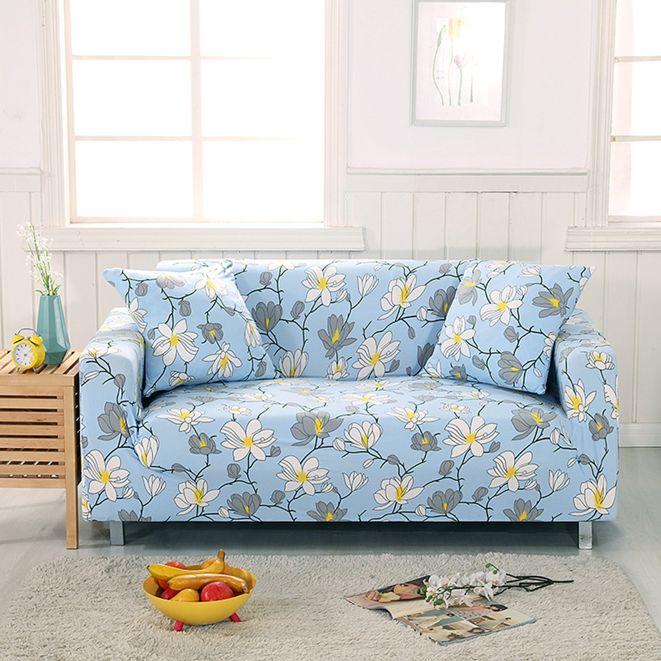 Blue Flowers Couch/Loveseat Sofa Covers For Living Room Polyester Universal  Stretch Corner Sofa Slipocver Machine Washable Cover