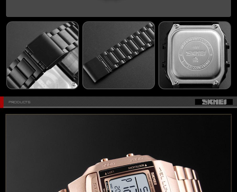 SKMEI Sports Watch Men Digital Watch Alarm Clock Countdown Watch Large Dial Glass Mirror Clock Fashion Outdoor Relogio Masculino 21