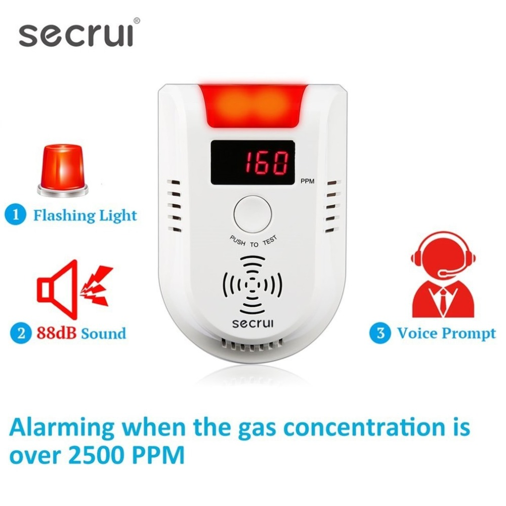GD13W Wireless Digital LED Display Combustible Gas Detector Independent Red LED Light Flashes For GSM PSTN