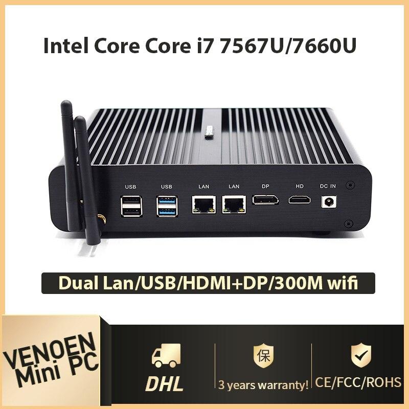 7Gen Fanless Mini PC Win10 Intel Core i7 7660U i5 7260U DDR4 RAM M 2 SSD