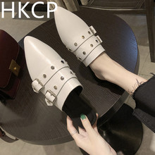 HKCP Casual loungers belt buckle half slipper womens shoes spring 2019 new flat drag women summer wear rivet C164
