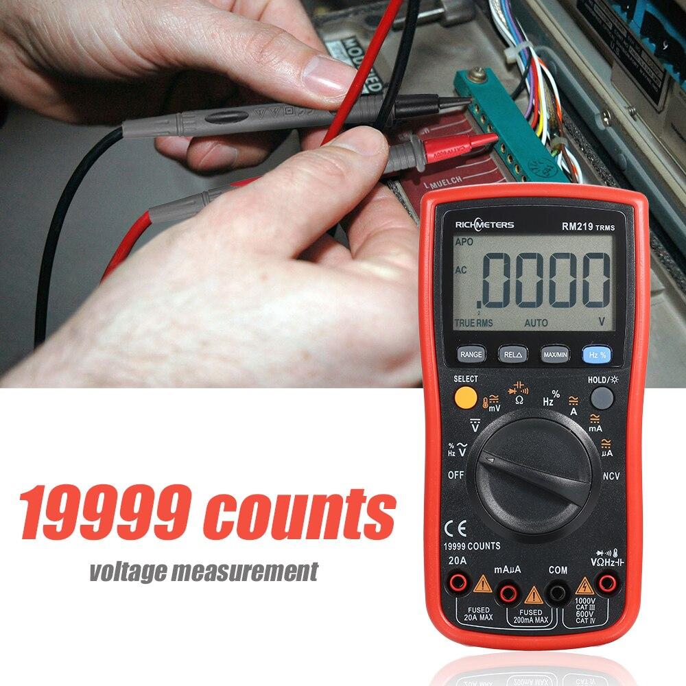 19999 Contagens Multímetro Digital NCV RM219-True RMS Freqüência Auto Power off AC DC Amperímetro Tensão Ohm Atual Transistor Tester