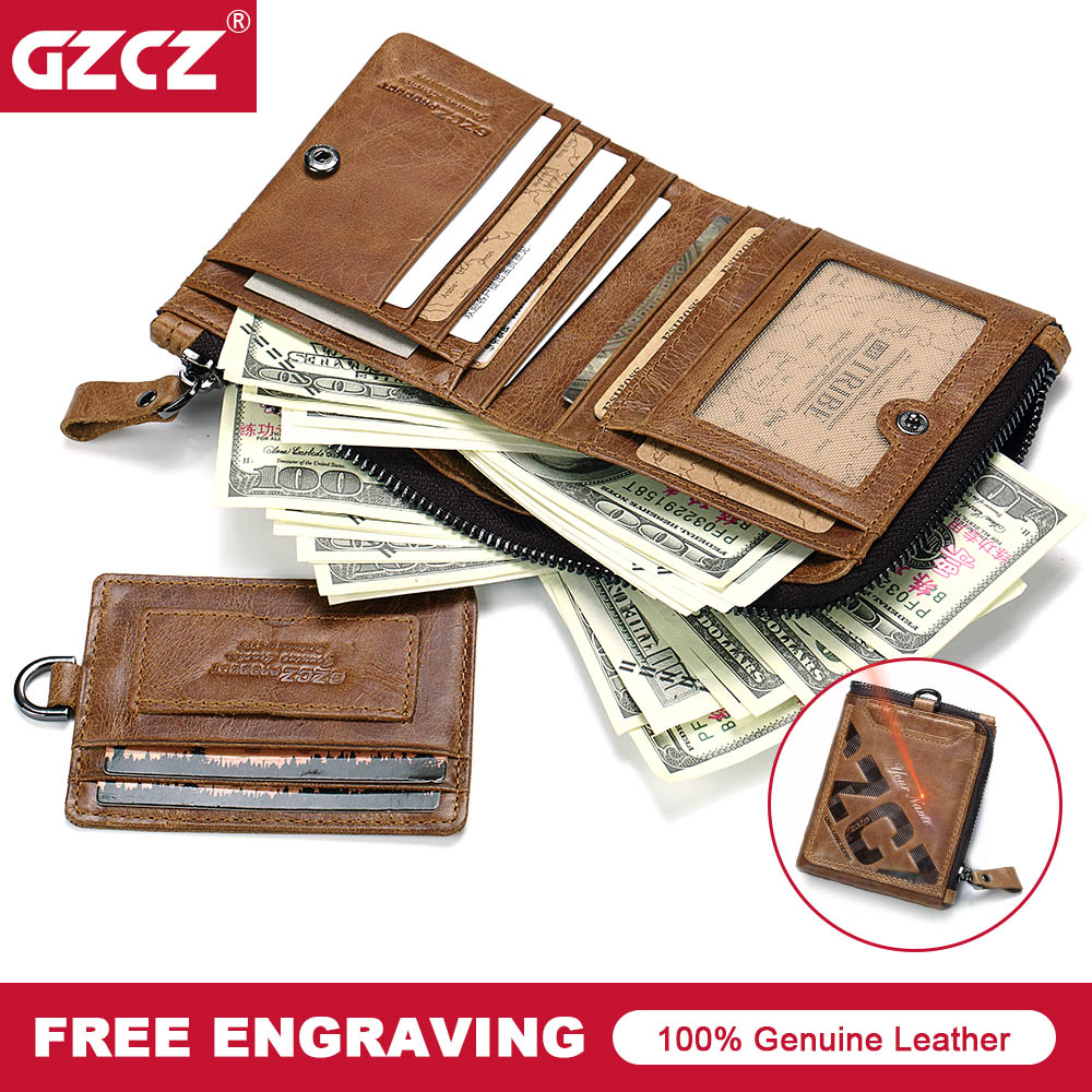 GZCZ Genuine Leather Men Wallets Brand High Quality Design Wallet with Coin Pocket Purses Gift For Card Holder Bifold Male Bag
