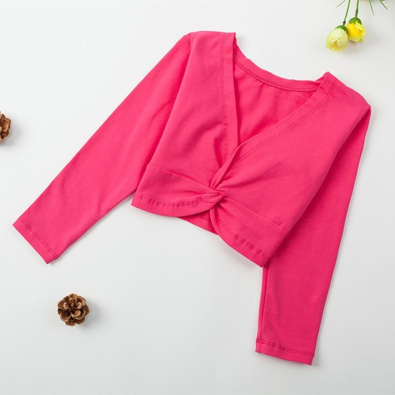 Ballet Gymnastic Leotard Jacket Girl Kids Long Sleeve Design Top Coat Children Girls Dance Clothing Cotton Pink Leotard Overall