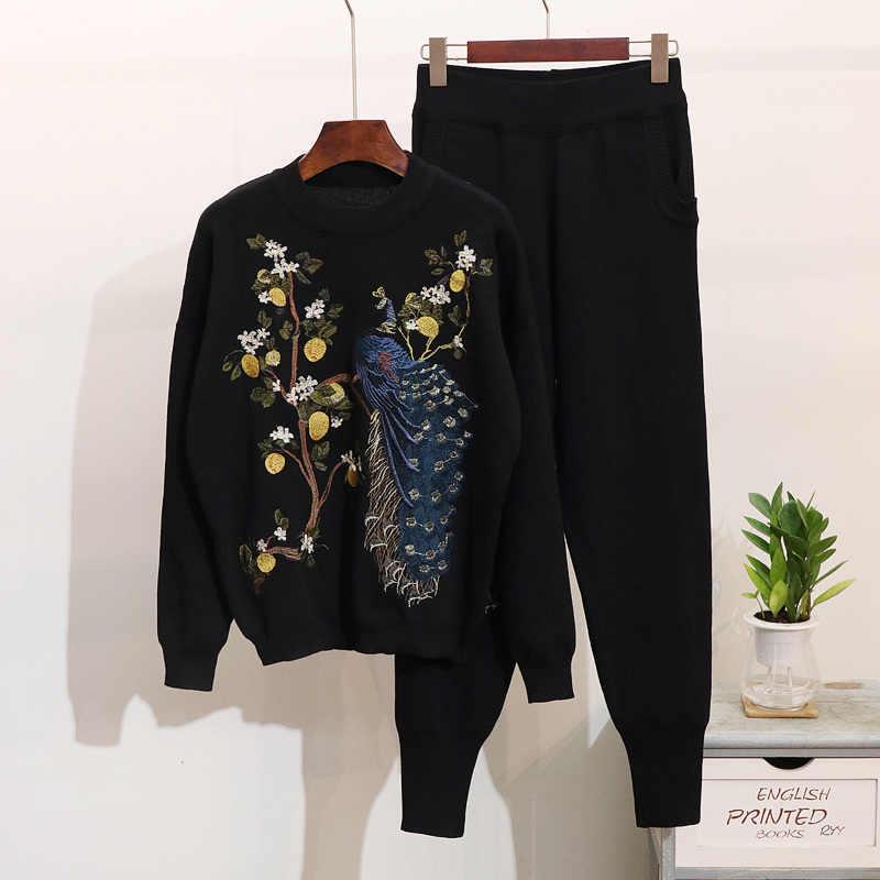 Высококачественный роскошный трикотажный брючный костюм 2019 новый модный элегантный спортивный костюм женский свитер с вышивкой Брюки Костюмы Набор Женский комплект 2 шт.