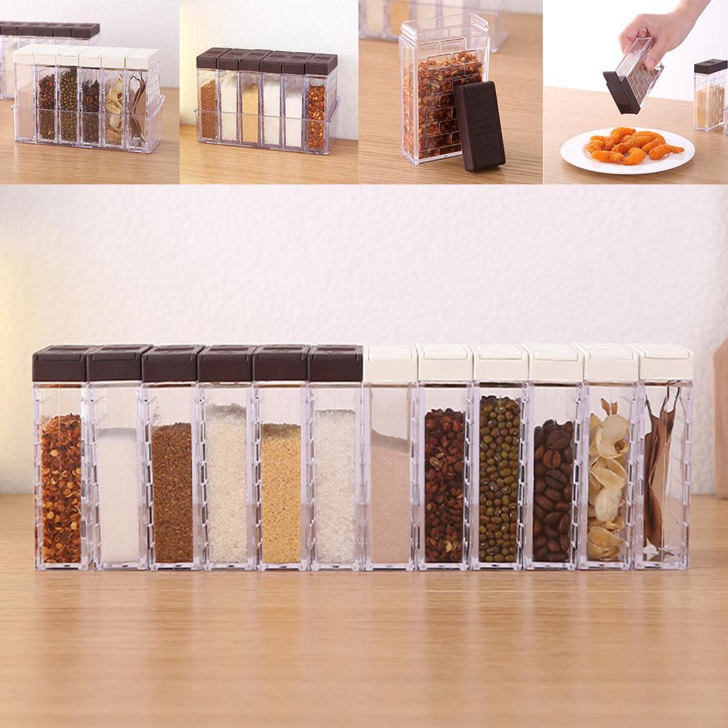 Kitchen Seasoning Bottles Plastic Spice Jar Home White, Coffee Storage Organizer Box