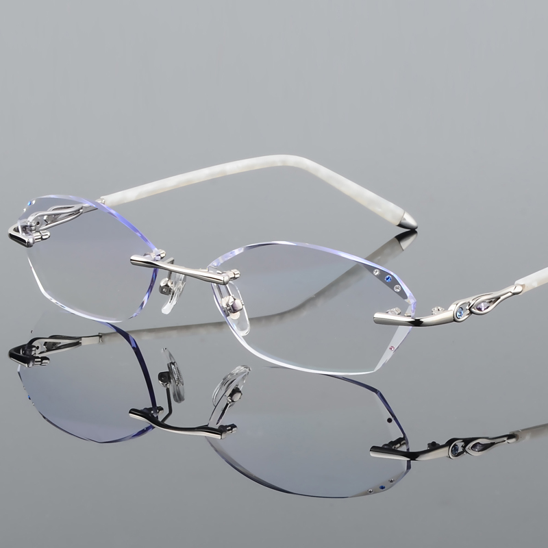 Rahmen Weibliche Mit Gradienten Gläser Presbyopie 18 Flut Diamant Brille Koreanische Randlose Trimmen Ultraleicht va4wwqZTF