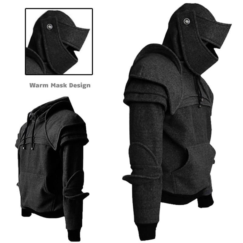 2019 Mens Hoodie Hiking Jacket Knight Mask Sweatshirt Retro Drawstring Sweater Tops Tactical Hunting Jacket M 3XL