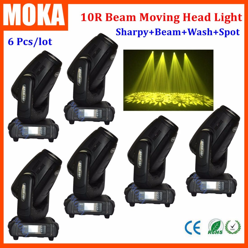 6 Pcs/lot Newest 280W 10R Beam Spot Wash Moving Head Light Beam 280 Beam 10R Stage Light 4pcs lot new products robe beam 280w 10r