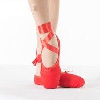 החדש של ילד למבוגרים נעלי ריקוד נעלי ריקוד בלט Pointe בלט מקצועי גבירותיי נעליים עם סרטי ורוד אדום