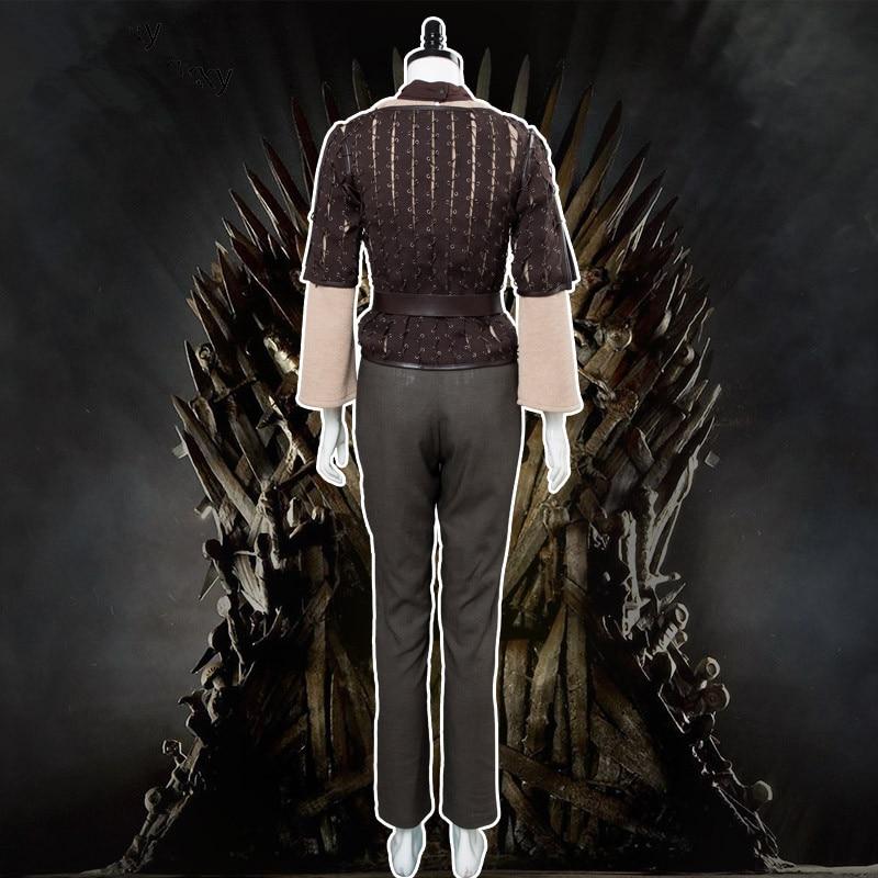 Disfraz de Cosplay de Juego de tronos Arya Stark, chaqueta marrón de cuello alto, pantalones, cinturón, marco de batalla, Halloween, Carnaval, navidad - 3