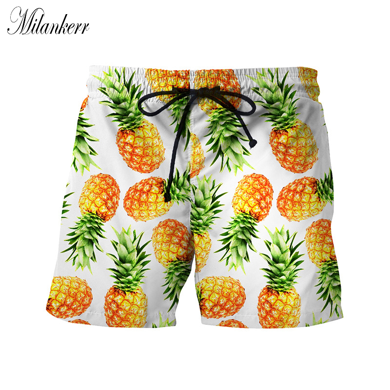 2018 New Mens Beach Shorts Summer Clothing Pineapple Print Board Shorts Elastic Waist Swim Short Pants Surfing Quick-dry Shorts