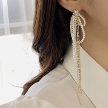 2019 Fashion Design Ear Accessories Tassel Earrings Jewelry Simulated Pearl Temperament Long Chain Earrings Pendientes Femme(China)