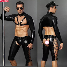 Yufeila 2019 New Sexy Cosplay Men Police Uniform Erotic Open Hips Knight Bar Club Costumes Exotic Pants Tops PU Leather