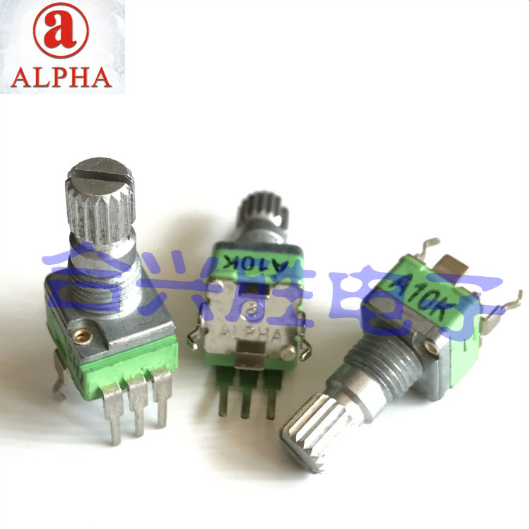 Taiwan ALPHA 9mm vertical rotating precision potentiometer single A10K volume potentiometer axial length 15mm купить в Москве 2019