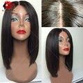 Боб шелковые топ полные парики шнурка/кружева передние парики необработанные Бразильский черный человеческих волос шелк база парик боб glueless для черных женщины