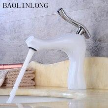 купить BAOLINLONG Baking Finish Brass Deck Mount Basin Bathroom Faucets Vanity Vessel Sinks Mixer bath faucet Tap дешево